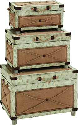 Plutus Brands Old Rustic Wood Trunk with Canvas Burlap and Galvanized Latches (Set of 3)
