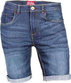 westAce Mens Denim Shorts Stretch Slim Fit Rolled Hem Jeans Half Pants