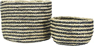 Bloomingville Handwoven Striped Seagrass (Set of 2 Sizes) Baskets, Black