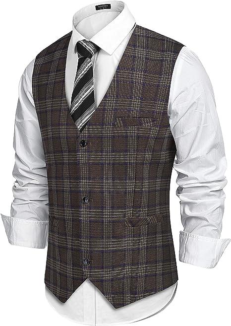 COOFANDY Chaleco de traje para hombre, a cuadros, sin mangas, estilo americano, ajustado, para fiestas y bodas