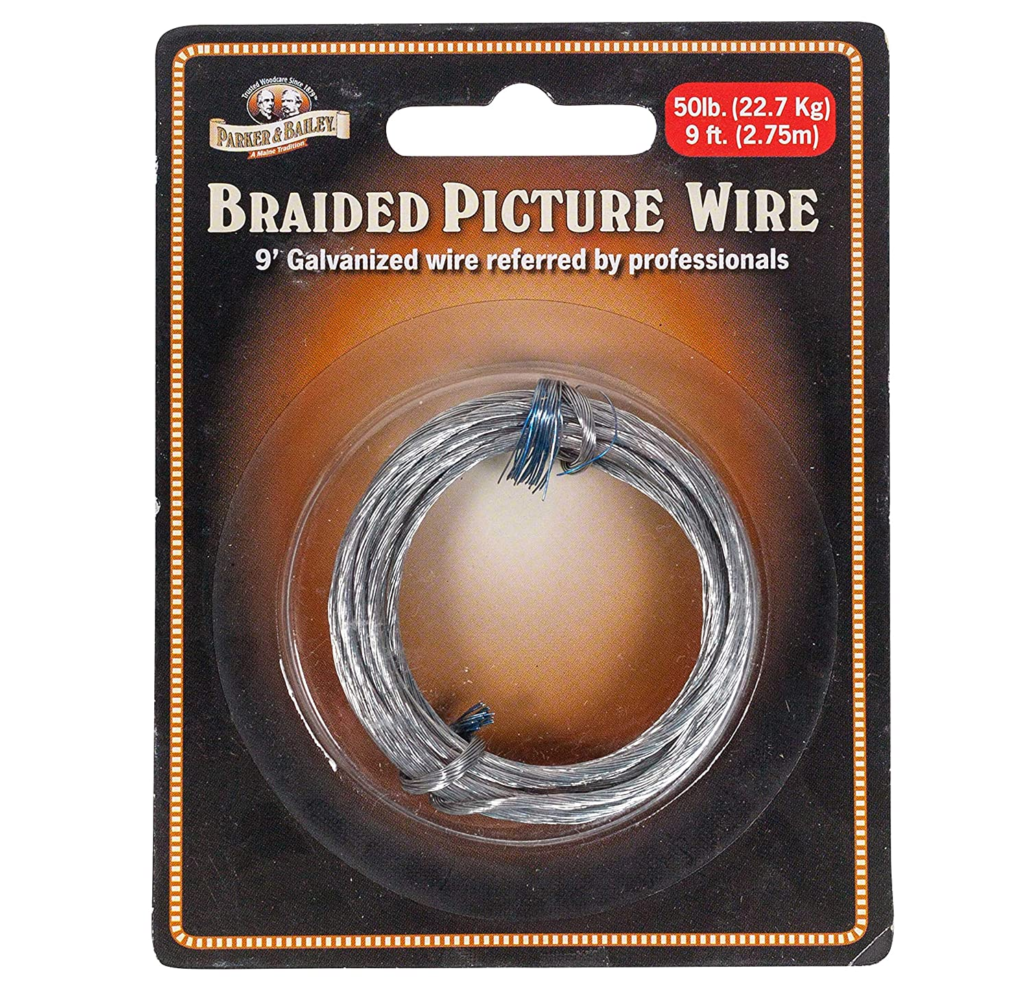 Parker & Bailey 9 Foot Galvanized Braided Picture Wire, 50 Pound Weight Limit - 1 Pack