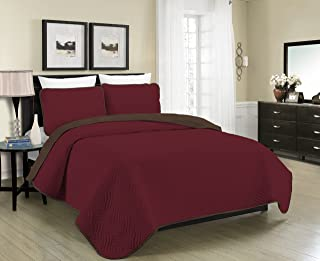 Blissful Living Reversible Luxury Pinsonic Solid Quilt Set Including Shams – Lightweight and Soft for All Year Round Comfort, Available in Twin, Full/Queen and King Size (Burgundy/Brown, King)