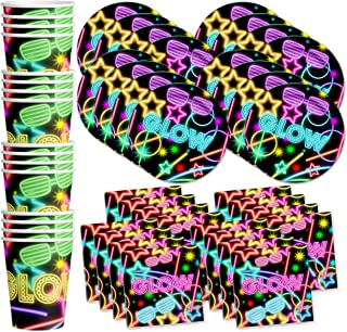 Glow Light Neon Birthday Party Supplies Set Plates Napkins Cups Tableware Kit for 16