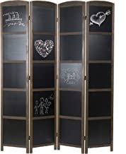 MyGift 4-Panel Erasable Chalkboard Room Divider/Privacy Screen with Wood Frame, Brown