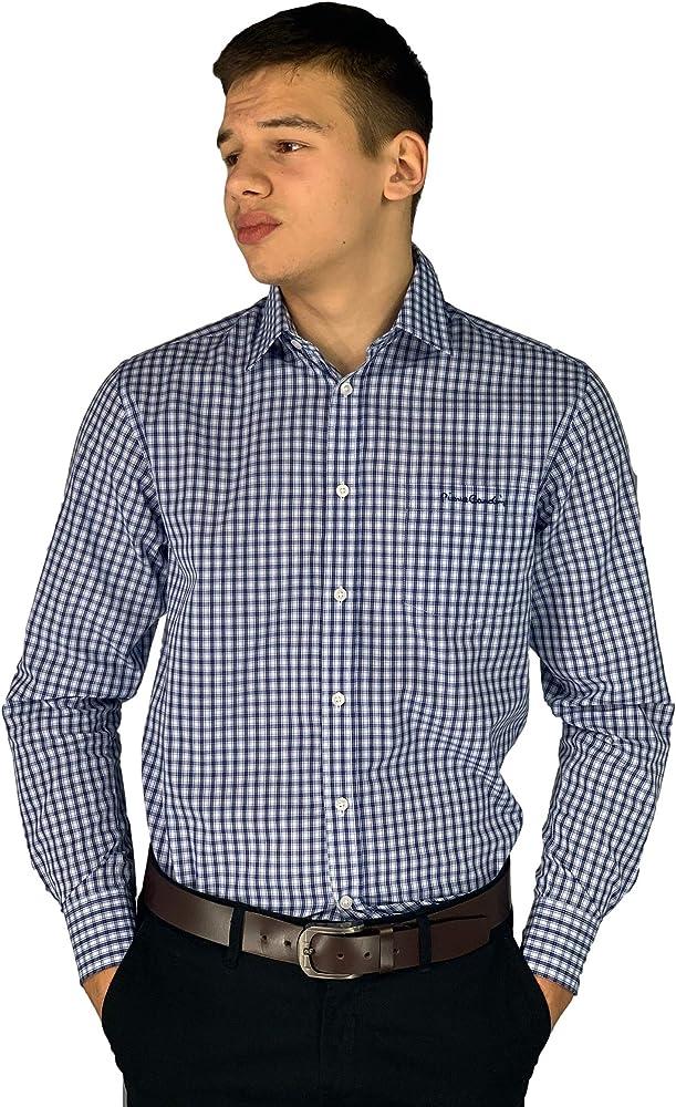 Pierre cardin, camicia da uomo a quadri, maniche lunghe, 65% poliestere, 35% cotone, blue check