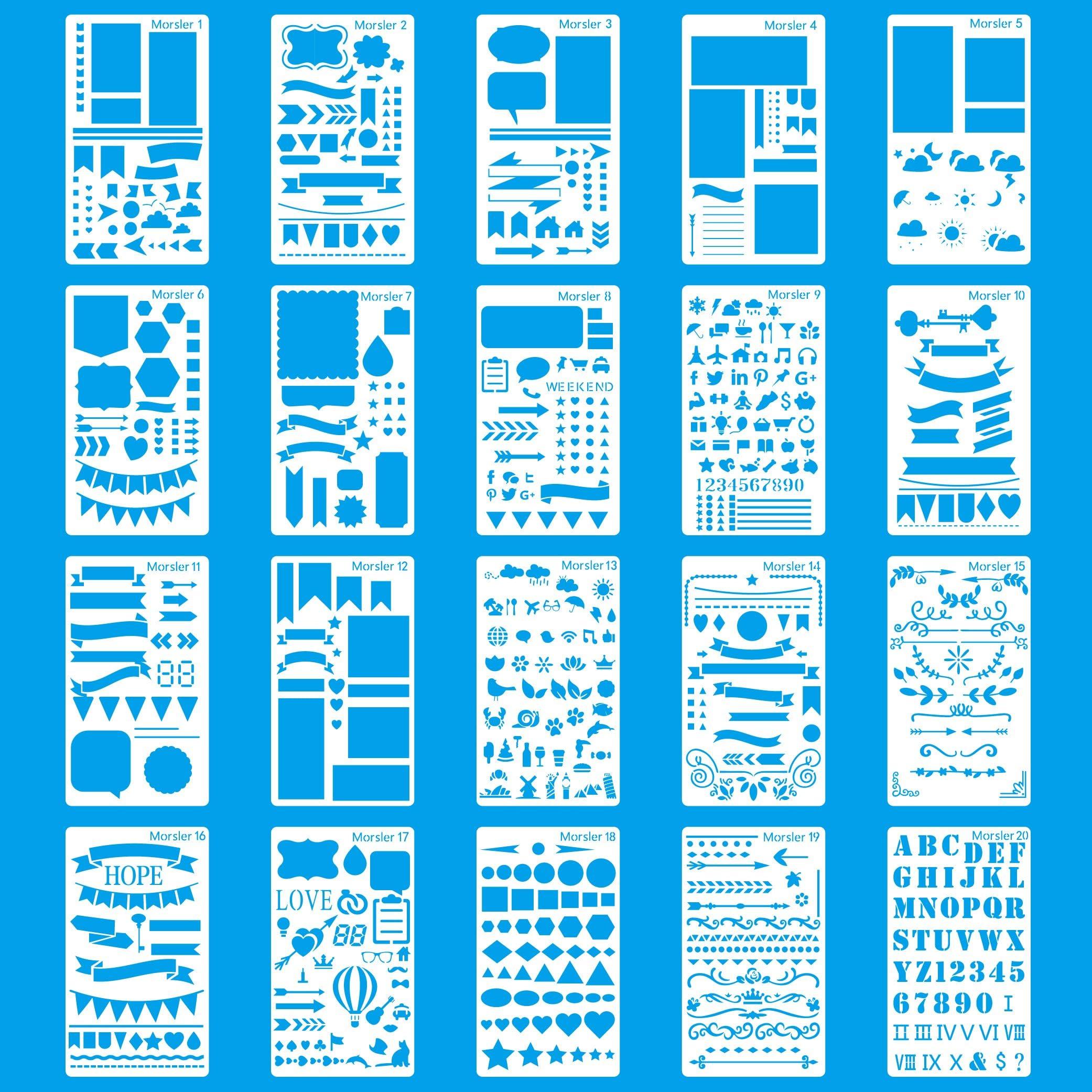 Soft Plastic Sheet Planner Stencil Plastic Stencil 6.9 x 3.8 Bullet Journal Stencil Holiday Themed Stencil 17.6 x 9.6 cm