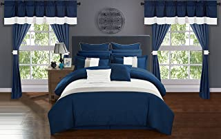 Chic Home Rory 24 Piece Comforter Set Color Block Quilted Embroidered Complete Bed in a Bag Bedding – Sheets Bed Skirt Decorative Pillows Shams Window Treatments Curtains Included, Queen Navy