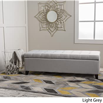 Christopher Knight Home Mission Fabric Storage Ottoman, Light Grey