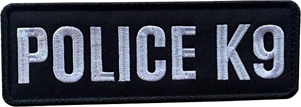 uuKen Embroidery Fabric Cloth Police K9 Unit Embroidered Military Tactical Morale Patch 6x2 inches with Hook Fastener Back for Tactical Vest or Harness (Black and White, 6