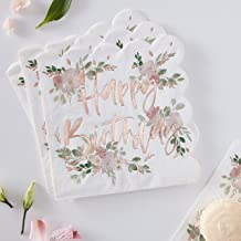 Ginger Ray Rose Gold Foiled Floral Happy Birthday Paper Party Napkins Tableware 16 Pack