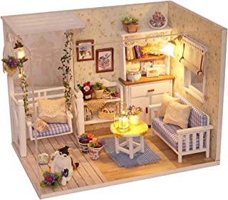 Ogrmar Wooden Dollhouse Miniatures DIY House Kit with Cover and Led Light-Cat Diary