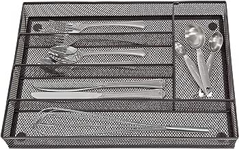 Smart Design Steel Metal Mesh Drawer Organizer - Utensils, Flatware, Organization - Kitchen 5 Compartment Gold