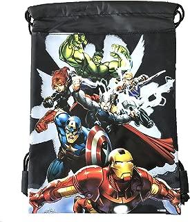 Disney Drawstring Backpack Gym School Sling Tote Bag (Avengers Black)