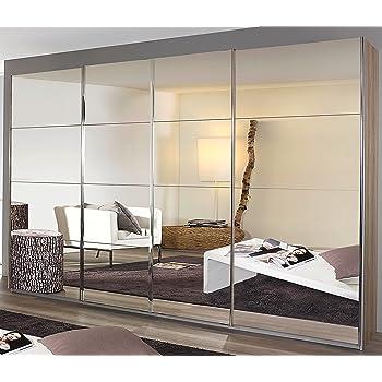 Armario de puertas correderas con puerta corredera Synchron de 4 puertas color blanco alpino con efecto espejo, 271 x 230 x 62 cm: Amazon.es: Hogar