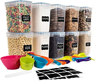 SPACE SAVER Food Storage Airtight Pantry Containers [Set of 10] 1.6L /54oz + 14 Measuring Cup/Spoons + 18 FREE labels & Ma...