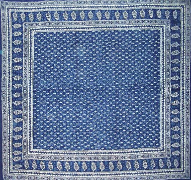 "Homestead Dabu Block Print Reversible Duvet Cover Cotton 92"" x 88"" Fits Full-Queen Indigo Blue"