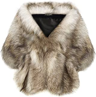 BABEYOND Womens Faux Fur Collar Shawl Faux Fur Scarf Wrap Evening Cape for Winter Coat