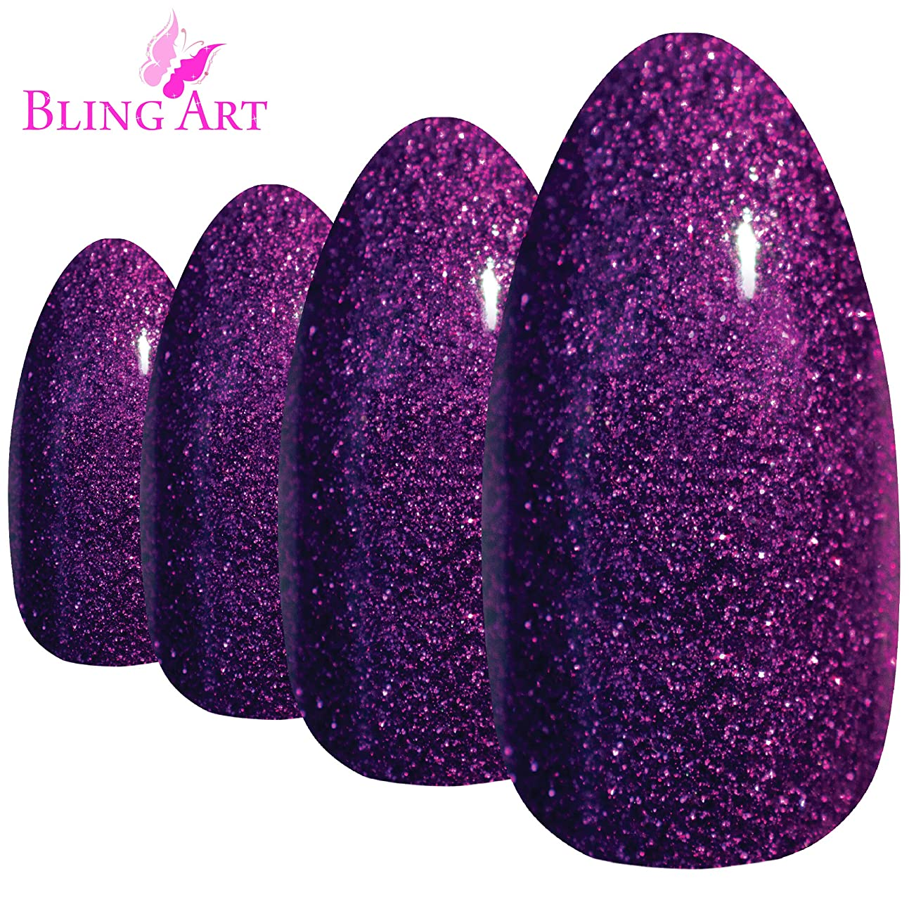 無条件大邸宅破滅Bling Art Almond False Nails Fake Stiletto Gel Purple Glitter 24 Long Tips Glue