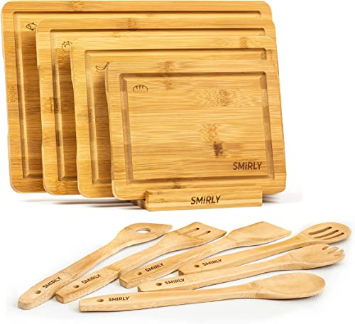 new arrival Smirly Bamboo Cutting Board Set: Wood Cutting Boards for Kitchen, Wood Cutting outlet online sale Board Set, Chopping Board Set, online Wooden Cutting Boards for Kitchen Large Wooden Cutting Board Set, Small Cutting Board Wood online