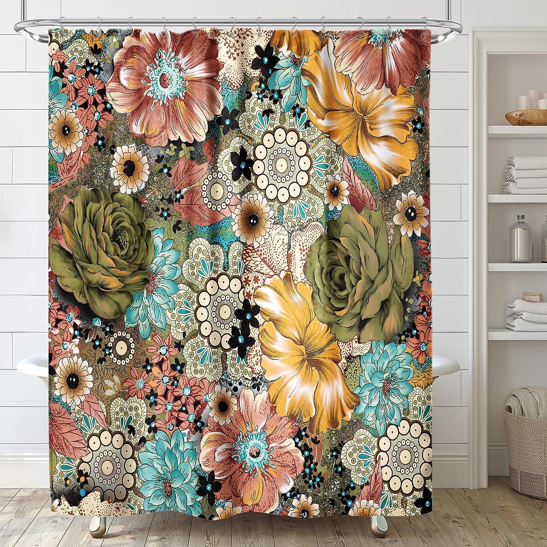 Riyidecor Boho Direct store Fancy Paisley High material Shower 60Wx72H Curtain Bohemia Inch