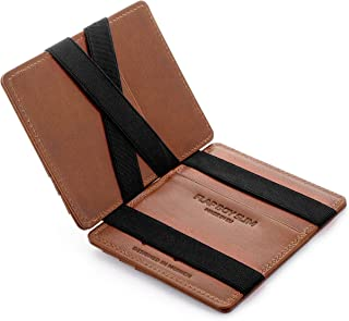 JAIMIE JACOBS ® Magic Wallet Flap Boy Slim - The Original - Slim Wallet, RFID Blocking Wallet, Genuine Leather, Card Wallet, Credit Card Holder, Travel Wallet, Bifold Wallet Men (Dark Brown)