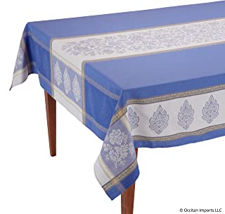 Occitan Imports Caprice Bleu Jacquard French Tablecloth, 63 x 118 (8-10 People)