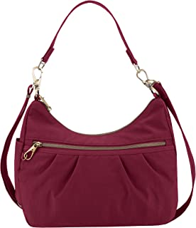 Travelon Anti-theft Signature Hobo Bag, Ruby