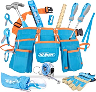 Hi-Spec 16 Piece Childrens Tool Kit with Kids Size Tool Belt, Real Leather Work Gloves,..