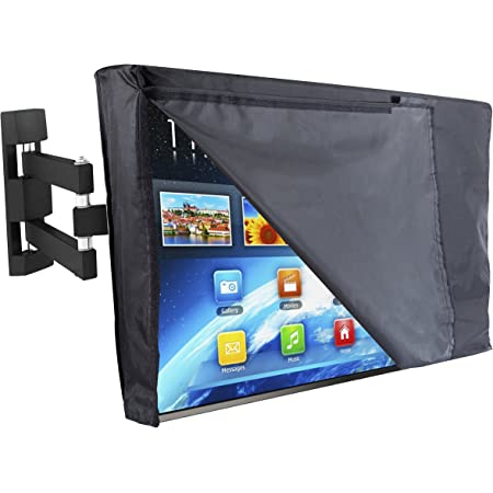 Lish Premium Waterproof Outdoor TV Cover 52 to 55 inches with Front Flap, Thick Fabric, Weatherproof Outdoor TV Enclosure for Outside Tv