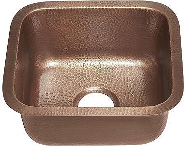 Sinkology SP502-17AC Sisley 17-inch Bar Prep Copper Sink in Hammered Antique copper
