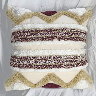DD DJOYOUS Moroccan Boho Decorative Throw Pillow Cover, 18 x 18, Square Chevron Pillowcase, No Pillow Insert, Modern Geometric Series, Cotton Tufted Cushion Case for Couch Sofa Bed