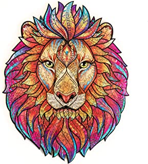 Unidragon Wooden Jigsaw Puzzles - Unique Shape Jigsaw Pieces Best Gift for Adults and Kids Mysterious Lion 9.7 x 12.5 inches, 192 pieces, Medium