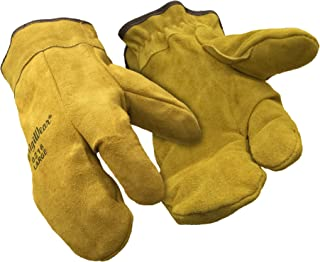 RefrigiWear Sherpa Lined Three Finger Split Cowhide Leather Mitten Gloves