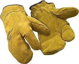 RefrigiWear Sherpa Lined Three Finger Split Cowhide Leather Mitten Gloves