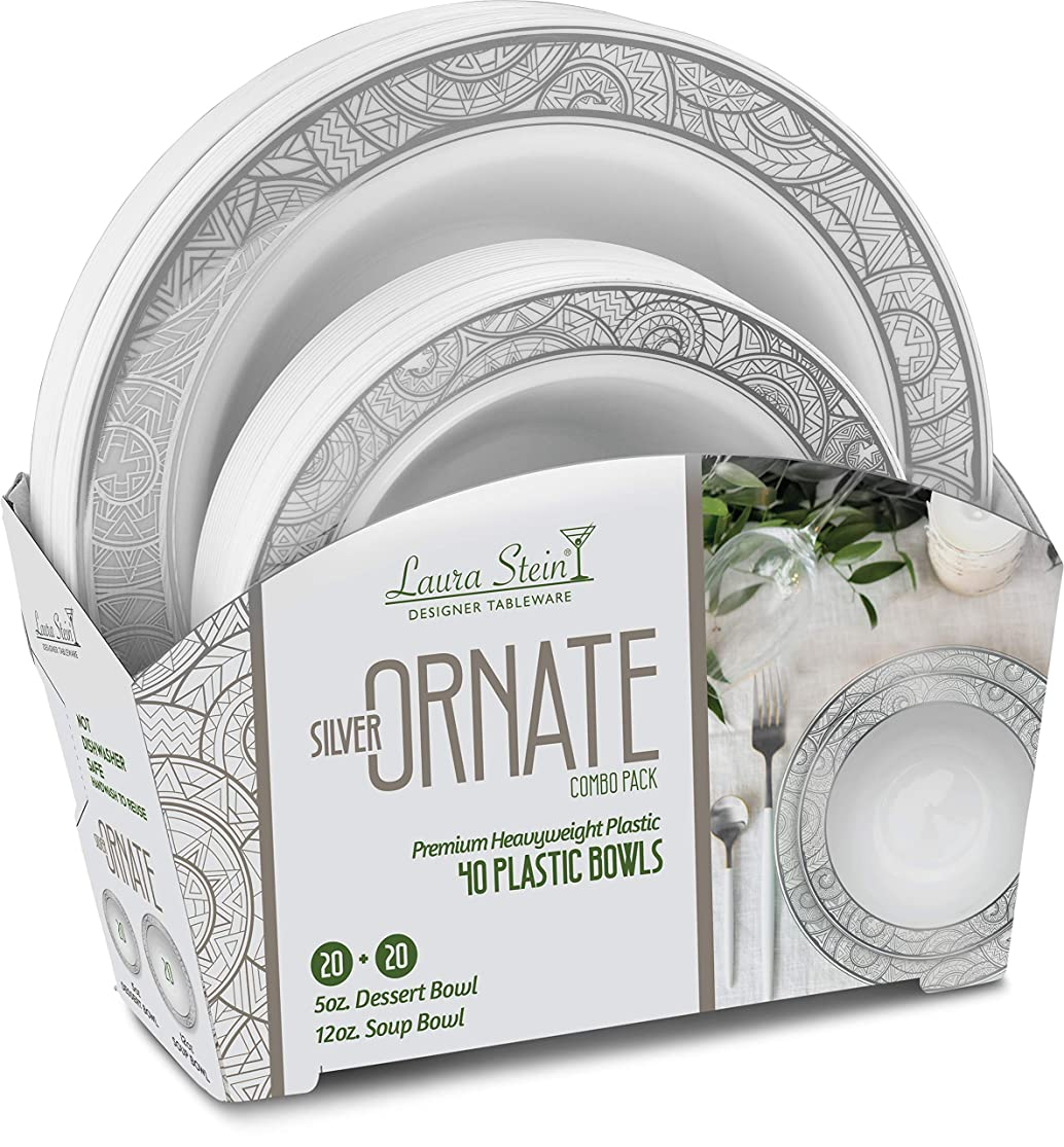 Laura Stein Party Ornate series Set of Elegant Disposable Dinnerware Combo Set Includes Plate & Bowls for Birthdays, Weddings, (2 Combo Packs, 64 Bowls (32 Sets), White & Silver) xgvufmmp6