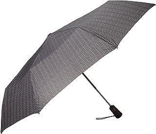 totes Totes Titan Compact Travel Umbrella, Windproof, Waterproof, Auto Open/Close, Tread (Black) - 7550