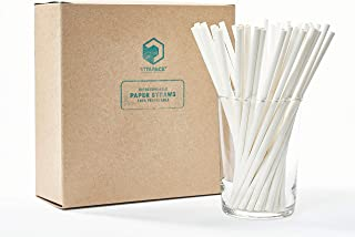 Vitapack 400-Pack White Paper Straws Certified Compostable 7.75