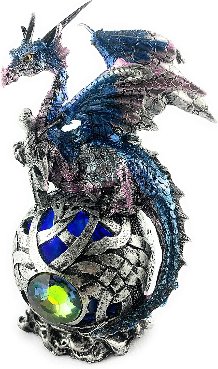 Aint it Nice Dragon Figurine On Light Up LED Orb Collectible Dragon Statue Décor, 6 X 3.5 X 3 inches (Batteries Included) (Blue)