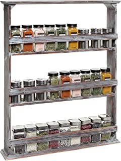 MyGift 3-Tier Country Rustic Style Brown Wood Wall Mounted Kitchen Spice Rack