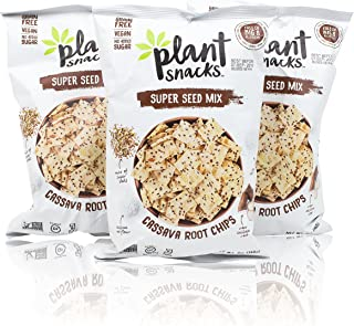 Plant Snacks Super Seed Mix Cassava Root Chips, Vegan, Big-8 Allergen Free, Non-GMO Project Verified, Gluten Free, Grain Free, No Added Sugar, 5 oz Bags, Pack of 3