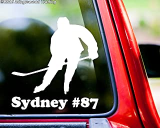 Minglewood Trading Ice Hockey Player V3 vinyl decal sticker with Personalized Name 5