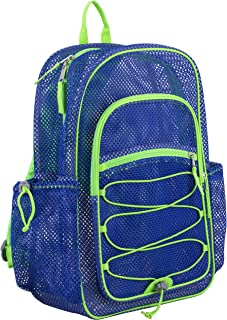 Eastsport XL Semi-Transparent Mesh Backpack with Comfort Padded Straps and Bungee, Indigo/Lime Sizzle