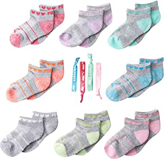 PUMA Little Girls' 8 Low Cut Socks + 4 Pack Hair Ties