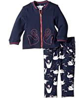 Little Marc Jacobs Two-Piece Jacket and Trousers Swans Details (Infant)