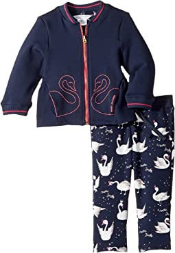 Two-Piece Jacket and Trousers Swans Details (Infant)