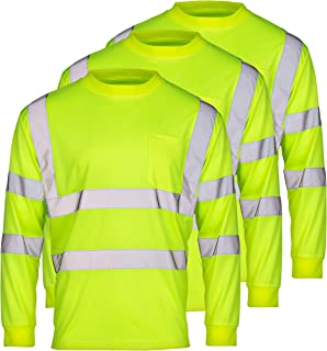 SuNi Apparel High Visibility Reflective Long Sleeve Safety Work Shirts with Pocket for Men Orange Lime Pack