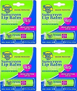 Banana Boat Sunscreen Lip Balm Aloe Vera With Vitamin E SPF 45 0.15 oz (Pack of 4)