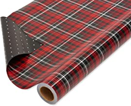 American Greetings Christmas Wrapping Paper Reversible Jumbo Roll, Red and Black Plaid and Polka Dots (1 pack, 175 sq. ft.)