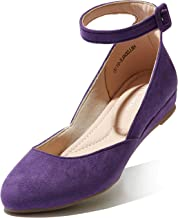 DailyShoes Women's Fashion Adjustable Ankle Strap Buckle Pointed Toe Low Wedge Flat Shoes