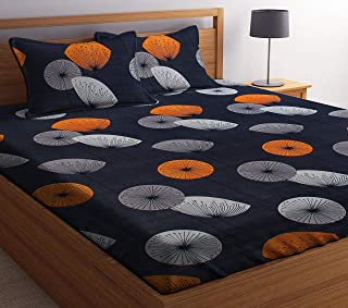 PATWAHOUSE 180 TC Glace Cotton King Size Grey Orange Pattern Luxury Double Bedsheet with 2 Pillow Covers